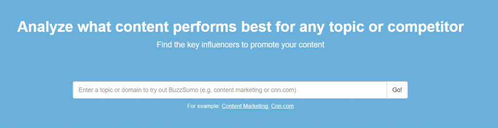 Buzz Sumo Search box