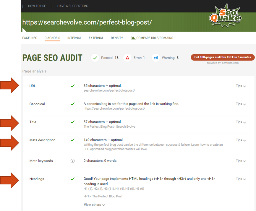 SEO Quake - On Page Metrics